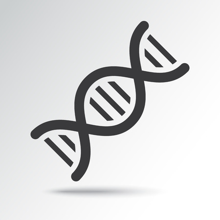 DNA icon with shadow. Black and blue colors Vector illustration
