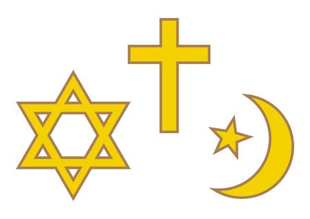 Three World Religions Symbols Judaism Christianity And Islam