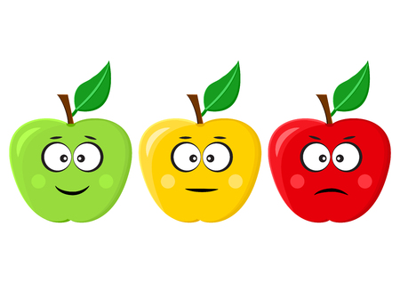 Green, yellow, red apples emoticons positive, neutral and negative, different mood. Vector illustration