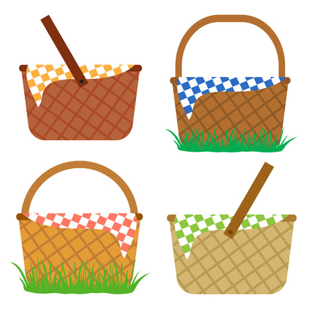 Set of empty baskets for picnic. Vector illustration Illustration