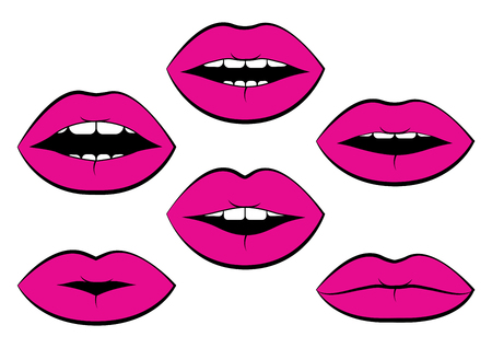 Set of pink womans lips with different emotions. Vector illustration Иллюстрация
