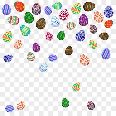 Falling colorful Easter eggs on transparent background. Vector illustration