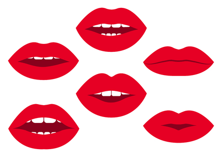 Set of red womans lips with different emotions Vector illustration Иллюстрация