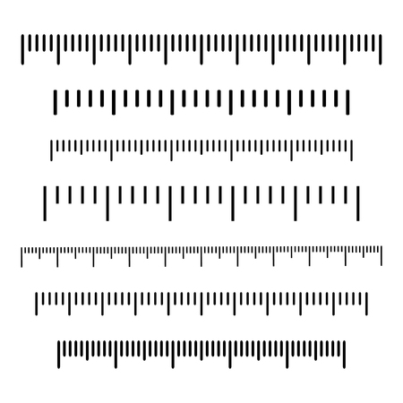 Black scale, markup for rulers. Different units of measurement. Vector illustration