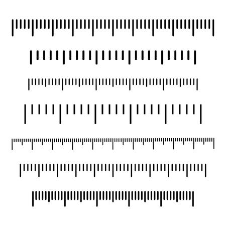 Scala nera, markup per righelli. Diverse unità di misura. Illustrazione vettoriale