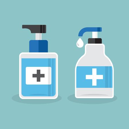 Dezynfekcja. Zestaw butelek do dezynfekcji rąk, żel do mycia. Ilustracja wektorowa