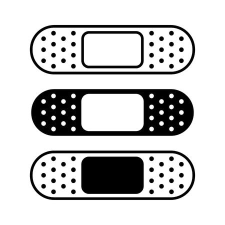 Set of medical plasters, bandage. Black and white, flat and outline design. Vector illustration