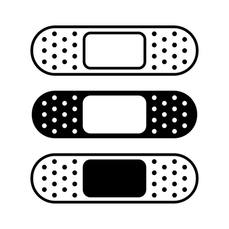 Set of medical plasters, bandage. Black and white, flat and outline design. Vector illustration