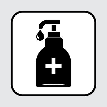 Disinfezione. Icona di bottiglia disinfettante per le mani, gel di lavaggio. Illustrazione vettoriale Archivio Fotografico - 98044304