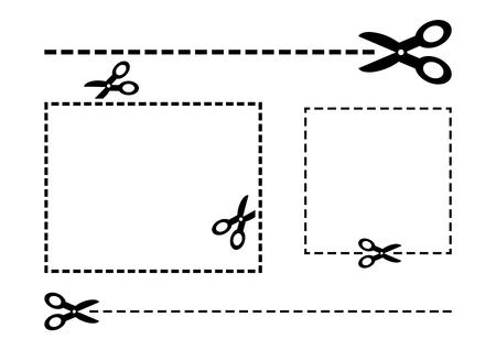 Scissors set. Coupon border. Black scissors and cut lines. Cut out coupon rectangle. Vector illustration