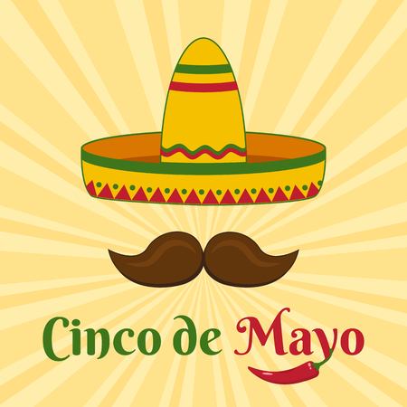 Celebration card for Cinco de Mayo with sombrero and mustache. Holiday in Mexico. Vector illustration