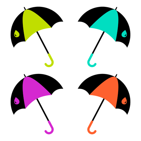 Colorful set of umbrella. Vector illustration