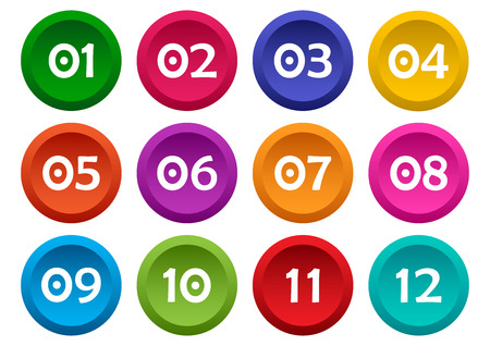 Colorful set of buttons with numbers from 01 to 12. Vector illustrati Vectores