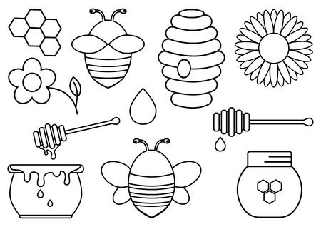 Honey set. Outline design. Vector illustration