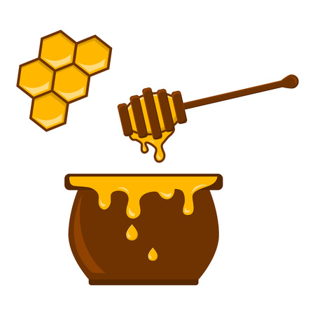 Honey jar, spoon and honeycomb. Vector illustration
