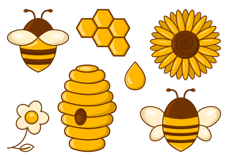 Bee set. Honey. Bees, sunflower, chamomile, beehive, honeycomb, drop illustration.