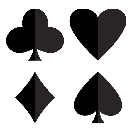 Casino gambling theme. Set of playing card suits. Poker card suits - heart, club, spade and diamonds. Black silhouettes illustration.