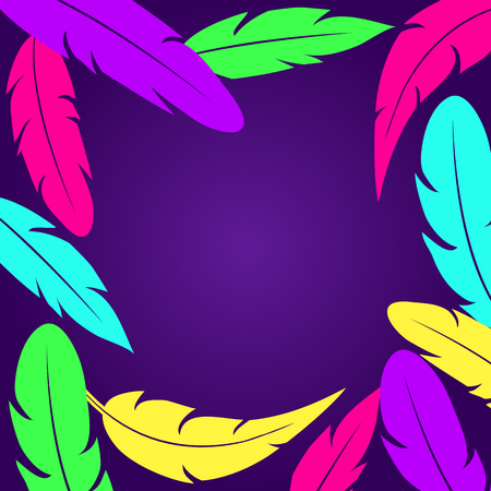 Decorative rame witn colorful feathers on dark purple background. Place for your text. Vector illustration