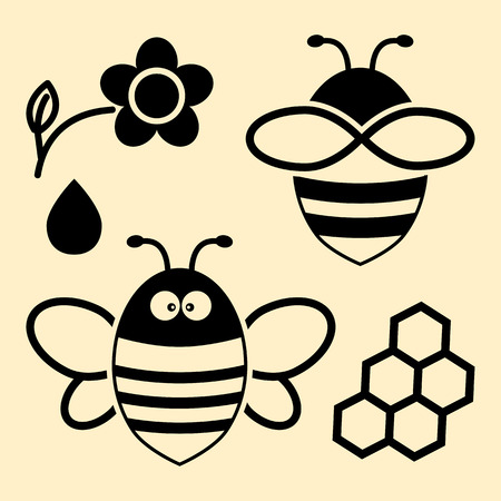 Bee set in black color Illustration.