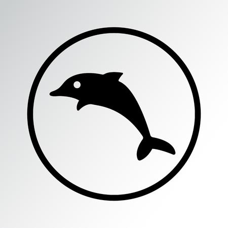 Fish icon, dolphin vector illustration.