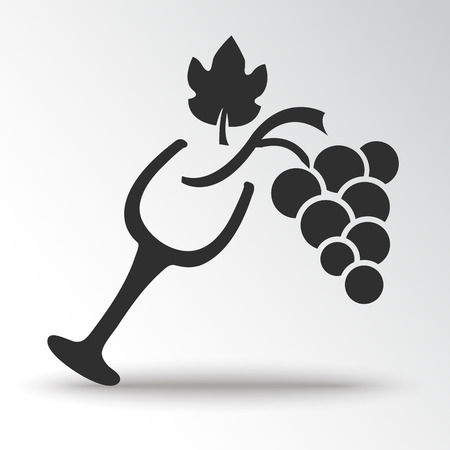 Winemaking. Wine glass and grapes. Black silhouette. Vector illustration