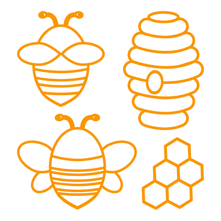 Bee set outline design vector illustration.
