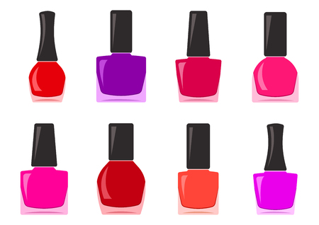 Colorful set of nail polish bottle vector illustration. Çizim