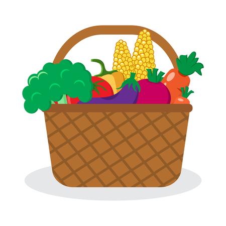 Basket with vegetables. Vector illustration Illustration