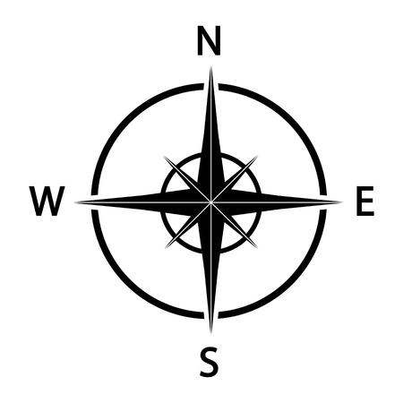 Ikona kompasu. Ilustracja czarna sylwetka.