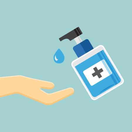 Désinfection. Icône de bouteille de désinfectant pour les mains, gel de lavage. Banque d'images - 101187197