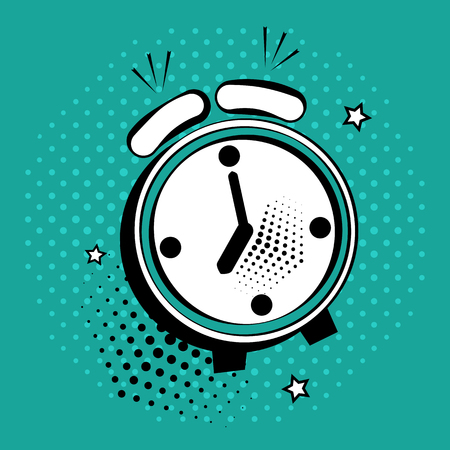 Alarm clock icon in pop art style on green background. Vector illustration