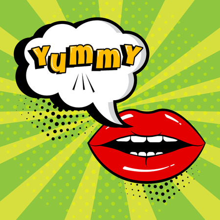 White comic bubble with YUMMY word and red lips on green background. Card in pop art style. Vector illustration