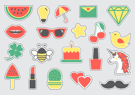 Set of cute icons with dotted lines. Colorful fashion badges. Vector illustration