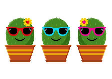 Set of cartoon emoticon cactus with sunglasses. Vector illustration