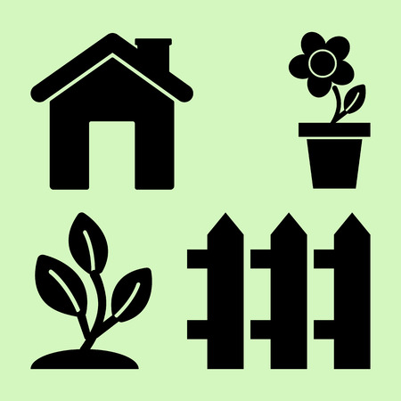 Gardening. Icons for home and garden. Black silhouette. Vector illustration