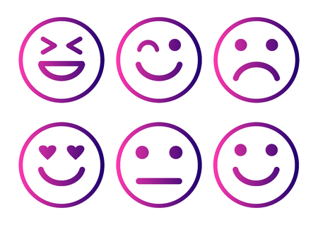 Smileys emoticons icon positive, neutral and negative, different mood. Purple gradient. Vector illustration
