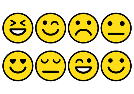 Yellow smileys emoticons icon positive, neutral and negative, different mood. Vector illustration