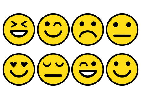Gele smileys emoticons pictogram positief, neutraal en negatief, verschillende stemming. Vector illustratie Vector Illustratie