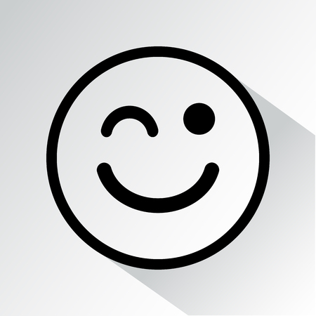 Winks icon. Smiley icon with shadow. Vector illustration