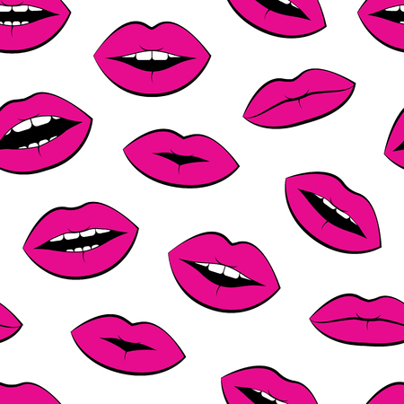 Seamless pattern with pink lips isolated on white background. Vector illustration