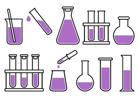 Chemical lab equipment with purple liquid. Vector illustration Stock Illustratie