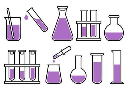 Chemische laboratoriumapparatuur met paarse vloeistof. Vector illustratie