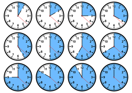 Set of clock icons showing different time. Blue and black colors. Vector illustration