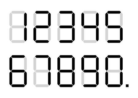 Set of calculator digital numbers. Vector illustration