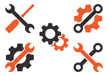 Dunkelgraues und orangefarbenes Werkzeugsymbol. Vektorillustration