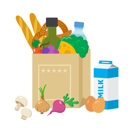 Paper package with products. Cheese, broccoli, olive oil, baguettes, pretzel, bottle of water, grapes, carrots, eggs, milk, bread, onion, mushrooms, radish. Vector illustration Vetores