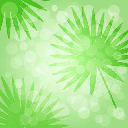 Tropical green background with palm leaves. Vector illustration Illustration