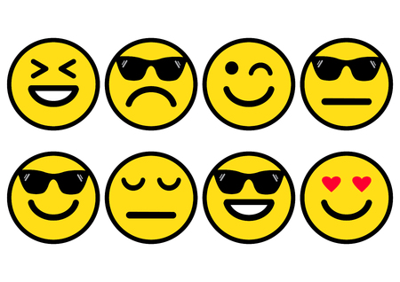 Summer yellow smileys in sunglasses, emoticons icon positive, neutral and negative, different mood. Vector illustration