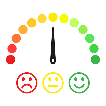 Scale with arrow from green to red and smileys. Colored scale of emotions. Measuring device icon sign. Vector illustration