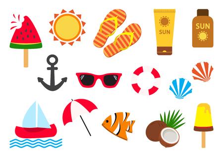 Summer set. Vector illustration